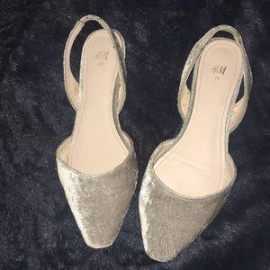 H&M silver crushed velvet pointed slip-ons